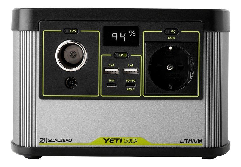 Goal Zero Yeti 200X (230V) EU universal version, przenośna stacja energii Li ion NMC, solarny generator. agregat prądotwórczy.